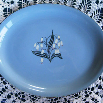 Mid Century Modern Decorated Skytone Platter, Circa 1953, Very good Antique Homer Laughlin