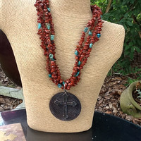 Red jasper and turquoise necklace with pendant
