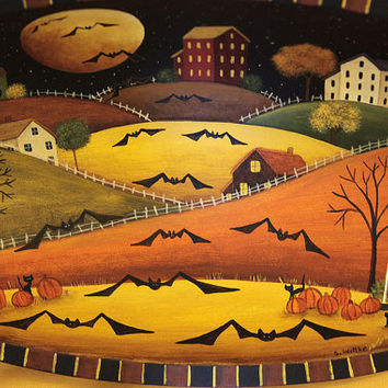 Halloween Folk Art Hand Painted Wood Oval Bowl - MADE TO ORDER - Saltbox Village at Night, Black Cats, Full Moon, Pumpkins, Swarming Bats