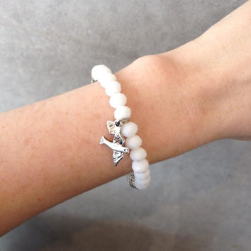 Lindi Kingi Bracelet | 8mm Cut Glass with Sterling Silver Charm | White Smoke Agate