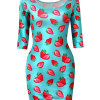 Trendy Women's Strawberry Blue  Long Sleeves Printed Stretchy Euro Style Slim Bandage Dress Clubwear Cocktail  (Size: M, Color: Blue) = 1956569732