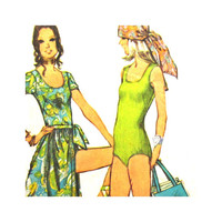 Vintage Pattern Simpicity 9411 Misses Body Suit and  Wrap Skirt Tote Bag Size 10 Bathing Suit