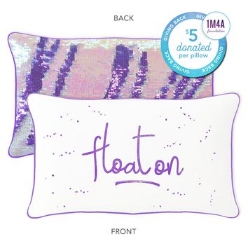 Float On Mermaid Pillow with Purple & Iridescent Reversible Sequins