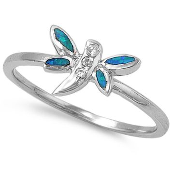 Sterling Silver Dragonfly 8MM Blue Lab Opal Ring