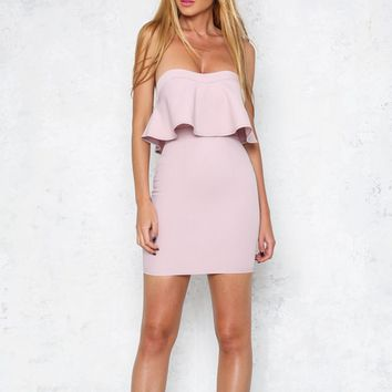 strapless ruffle bodycon dress - blush