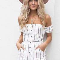 Wait For Me White & Black Off Shoulder Romper