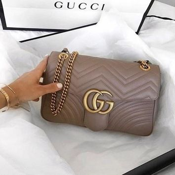 Gucci Trending Women Metal GG Buckle Leather Satchel Shoulder Bag Crossbody Purple I