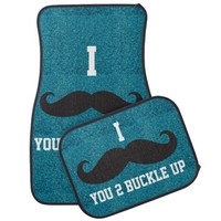 Teal glitter I Mustache You 2 Buckle Up Car Mats