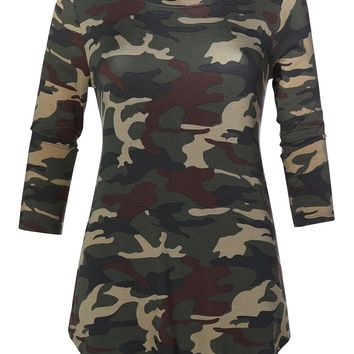 LE3NO Womens Casual Loose Fit Round Neck 3/4 Sleeve Camouflage Print Stretch Tunic Top