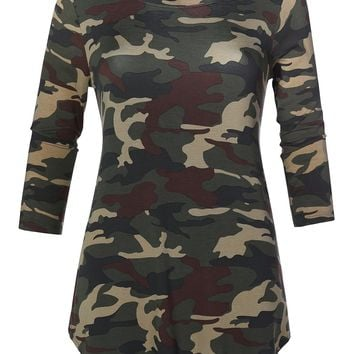 Casual Loose Fit Round Neck 3/4 Sleeve Camouflage Print Stretch Tunic Top
