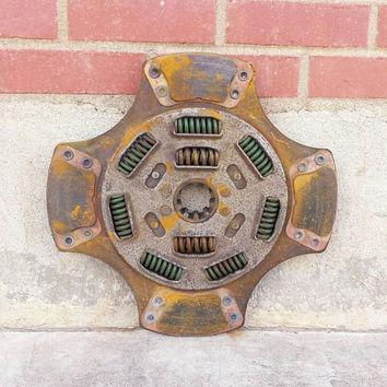 "Salvaged Clutch Plate 15"" Disk Rusty Industrial Spring Coil Engine Steampunk Mechanical Scrap Metal Art Wall Hanging Assemblage Lamp Supply"