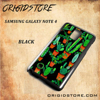 Cactus Black Pattern For Samsung Galaxy Note 4 Case - Gift Present Multiple Choice