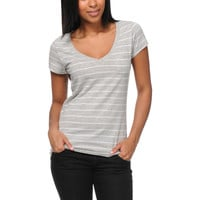 Zine Girls Grey Striped V-Neck Pocket Tee Shirt at Zumiez : PDP