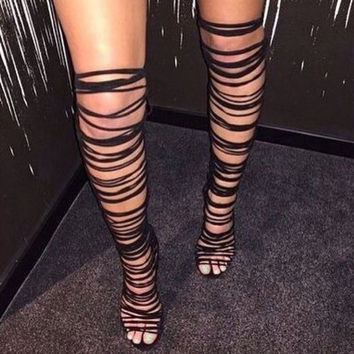 Women Lace Up Strappy Knee High Boots Gladiator Roman Sandals Open Toe Cut Out Tassel Fringe Suede Fetish Shoes Stilettos Pumps