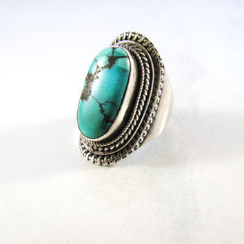 SALE Vintage Turquoise Silver Ring Large Chunky 1970s size 6 Boho
