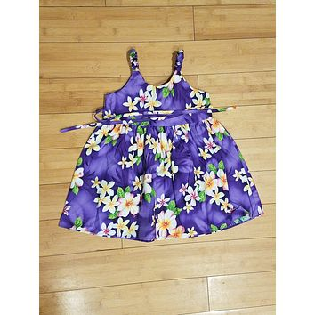 Purple with Hibiscus and Plumeria Girls Tank Dress
