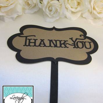 Photo Props - Thank You Sign - Natural Craft Brown & Black - Shabby Chic/Script - Item 006