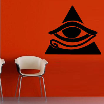 Wall decal decor decals art sticker all seeing eye see annuit coeptis illuminati god triangle providence (m794)