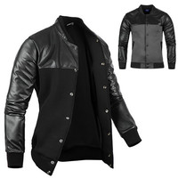 Stylish Men Cool PU Leather Jacket Coat Motorcycle Style Punk Slim Jackets Outwear