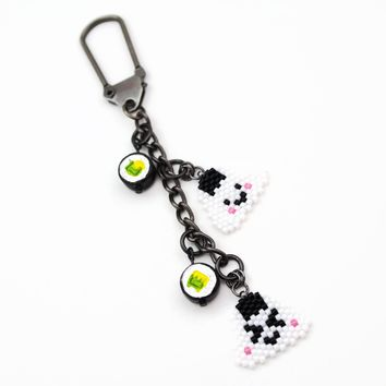 Rice Ball Planner Beaded Charm And Decor With Ceramic Mini Sushi Bead Accent