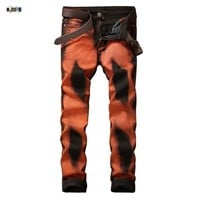 Fashion Men's Printing Jeans Slim Fit Night Club DJ Drawing Denim  Trousers Casual Skinny Funny Jean Pants For Men