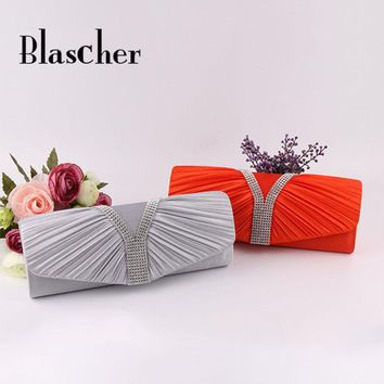 Blascher Women Clutch Lady Handbags Party Satin Bags High Quality Purse Wedding Clutch Female Evening Bags Handbags Bling Bling