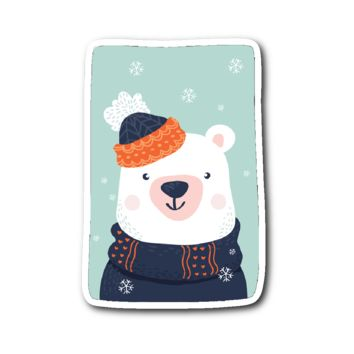 Adorable Animals in Winter Clothes - Polar Bear Sticker