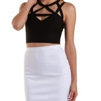 Black Caged Halter Crop Top by Charlotte Russe