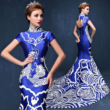 Muslim Evening Dresses Arabic Dubai Evening Dress 2017 Luxury Chinese Mermaid Formal Gowns Cheongsam Great Gatsby Dress Kaftan