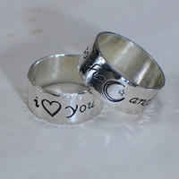 I love you to the moon and back sterling silver ring set with hammered borders