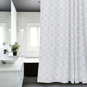 Geometric design White and Grey Bathroom Fabric Shower Curtain