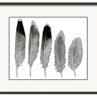 Watercolor Feather Study Print, Laughing Gull Feathers, Nature Wall Art, Black and White Feather, Giclee Print, Bohemian Decor, Beach Art