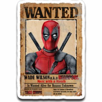 Deadpool Wanted Poster Sticker Decal