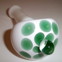 Glass Pipe, Sparkly Green with Magnifying marble, Hand Blown Pipe, Made to Order, Cgge Team