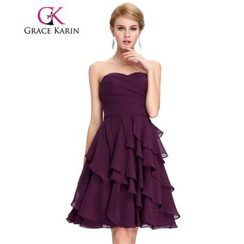 Grace Karin Short Prom Dresses Sweetheart Knee Length Tiered Chiffon Party Gown Elegant Purple Back To School Prom Dress CL3439