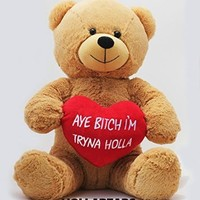 "Hollabears 16"" Aye Bitch I'm Tryna Holla Teddy Bear Original Hollabear - High Quality Plush - Funny and Cute Gift for the Girlfriend or Boyfriend"