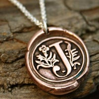 Wax Seal Copper Initial Necklace