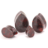 Red Jasper Teardrop Stone Plugs (8mm-22mm)