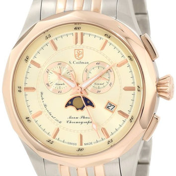 S. Coifman SC0250 Men's Watch Swiss Made Champagne Dial Chronograph Two-Tone Band
