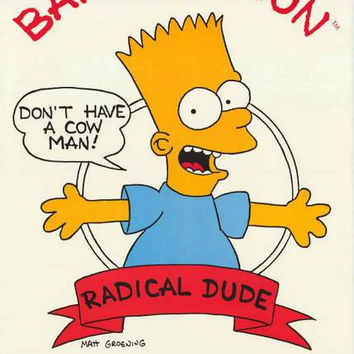 Bart Simpson Don't Have a Cow 1989 Poster 21x32