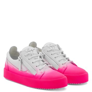 Giuseppe Zanotti Gz New Unfinished White Calfskin Leather Low-top Sneaker With Fuchsia Flocking Patina