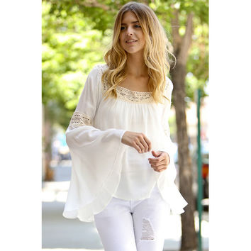 Boho Crochet Lace Long Bell Sleeve With Ruffle Detail Top Ivory
