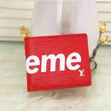 """Louis Vutitton×Supreme"" Fashion Letter Logo Short Section Fold Wallet Unisex Purse"