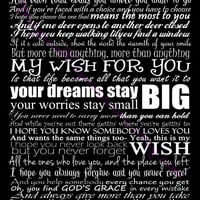 Rascal Flatts My Wish Typography Song Lyric Art Print 11 by 14
