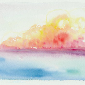 Sunset, original watercolor painting. Colorful sky. Tropical sunset. Landscape watercolor. Unique art from Finland. Sky and ocean watercolor