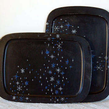 Two Black TV Trays, Atomic Age, c. 1960s