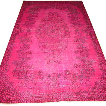 Sale Pink Color Overdyed Handmade Rug  with Medallion Design 8'9'' x 5'2''  feet