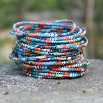 "set of 8 - ""kaleidoscope"" recycled flip flop bracelets - multicolor - handmade by women in Mali"