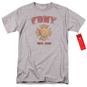 FDNY Mens T-Shirt New York City Fire Dept Vintage Heather Tee