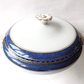Vintage Booths Blue Lidded Vegetable Bowl, Dinner Party Serving Dish, Antique Blue Dinnerware, Tureen & Lid, Blue and White Serveware,